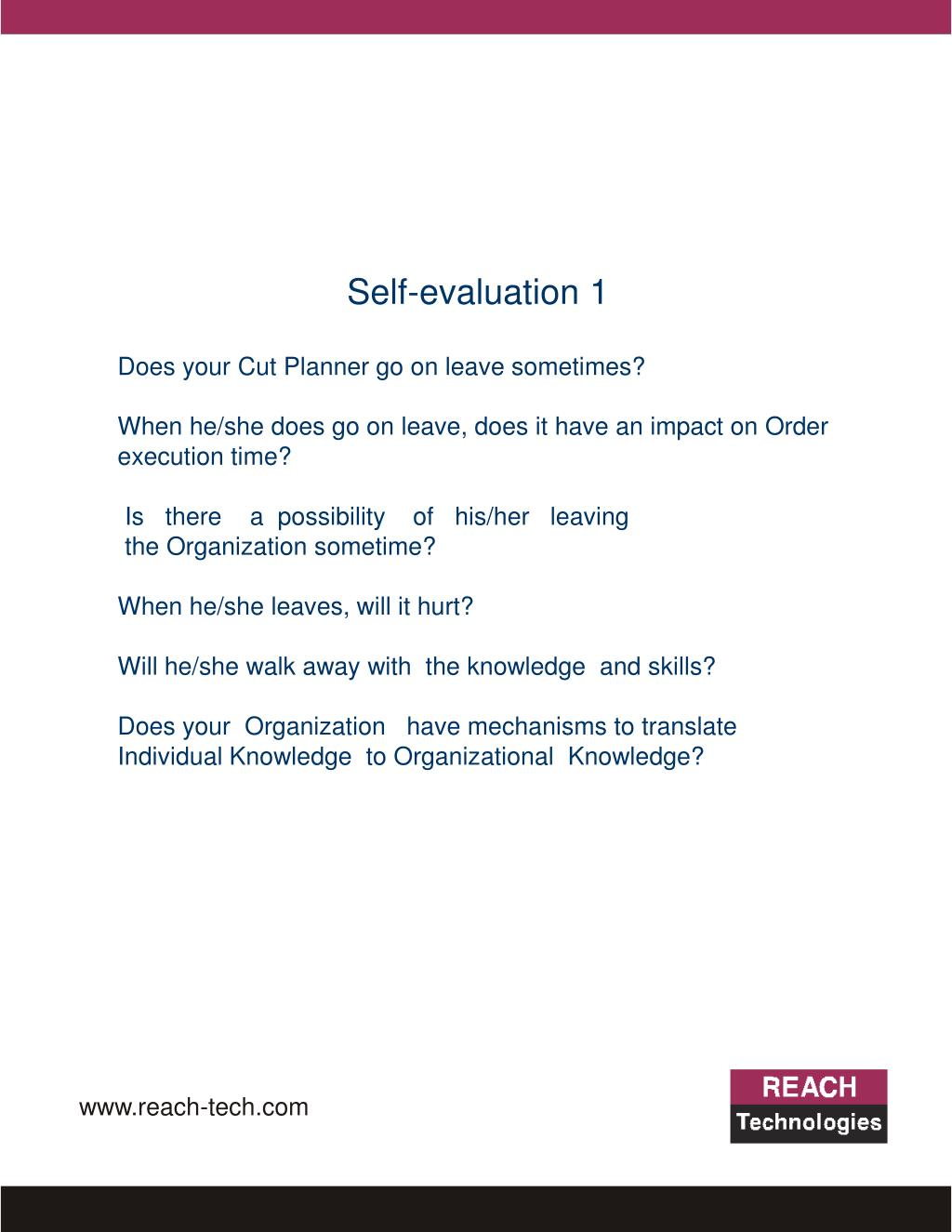Self-evaluation 1
