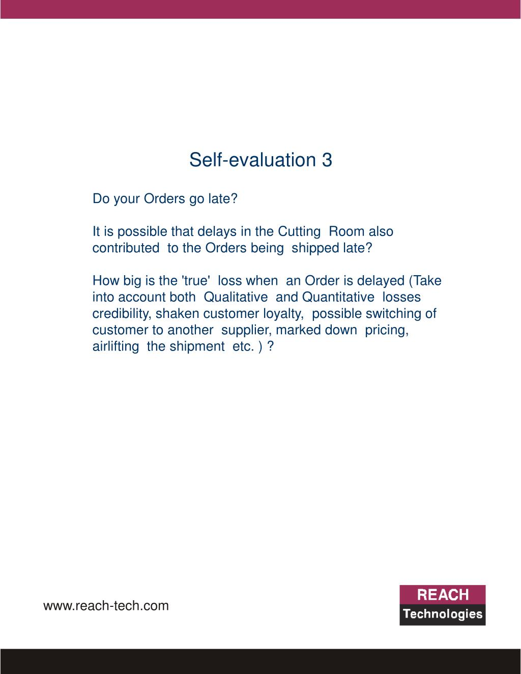 Self-evaluation 3