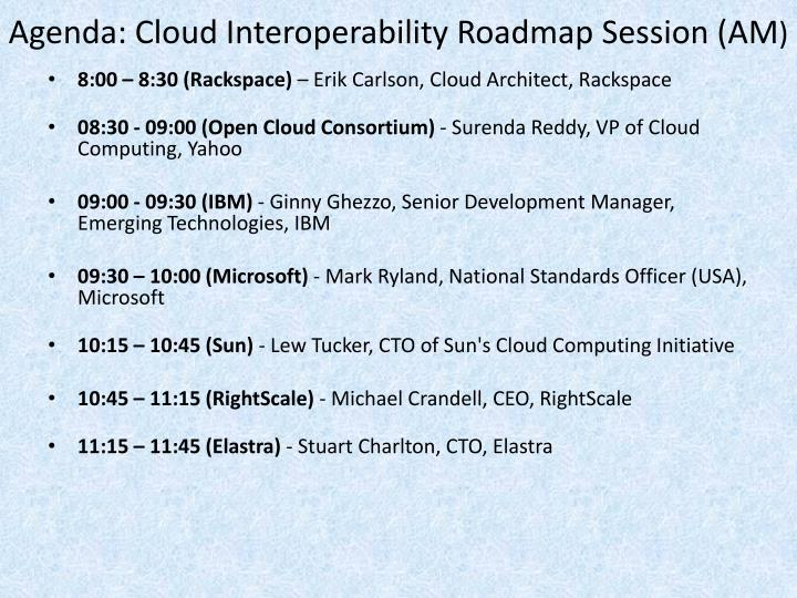Agenda: Cloud Interoperability Roadmap Session (AM
