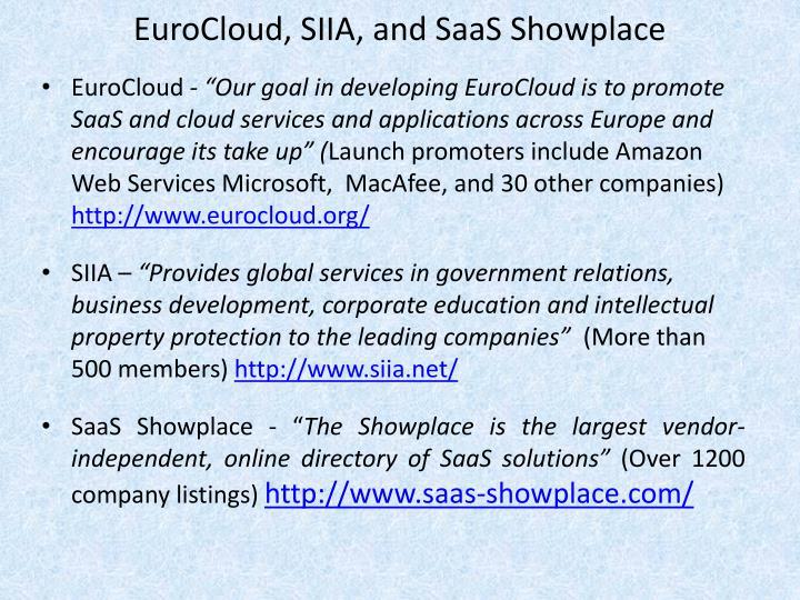 EuroCloud, SIIA, and SaaS Showplace