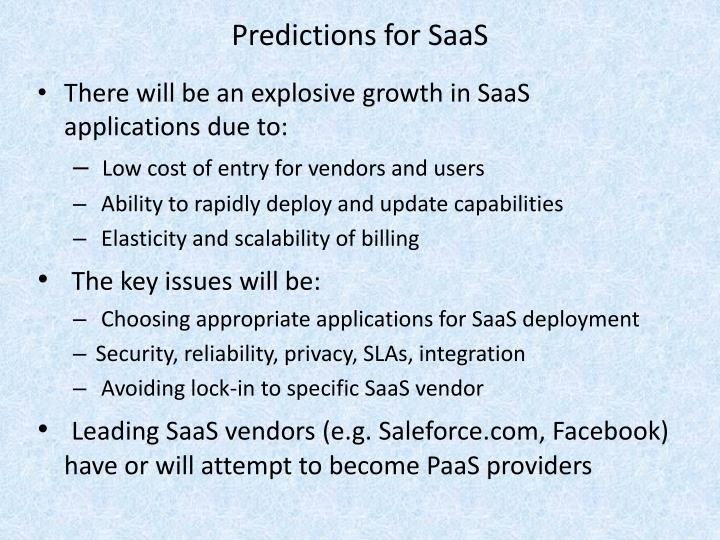 Predictions for SaaS