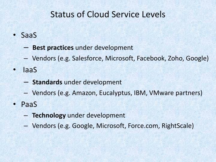 Status of Cloud Service Levels