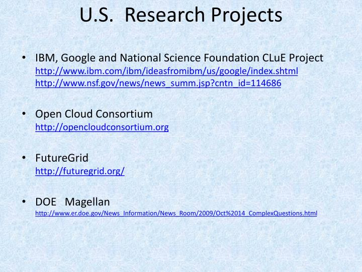 U.S.  Research Projects