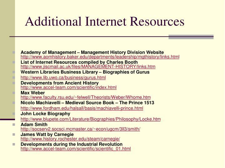 Additional Internet Resources