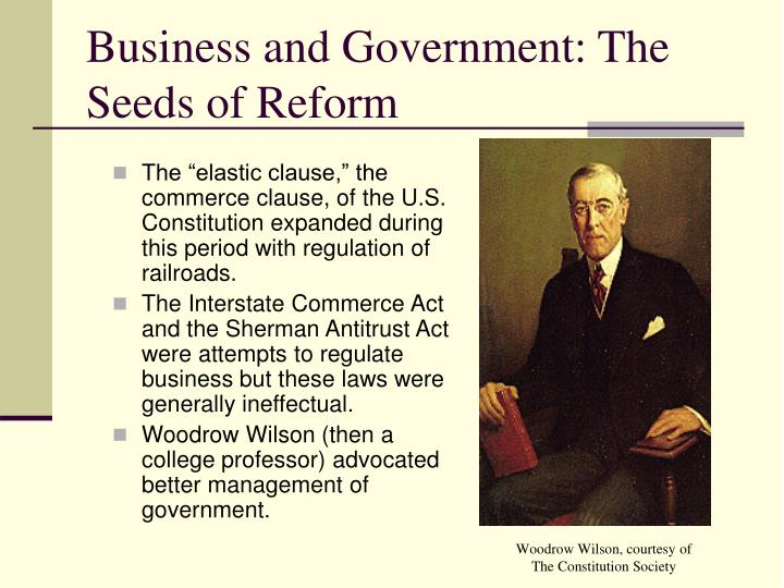 Business and Government: The  Seeds of Reform