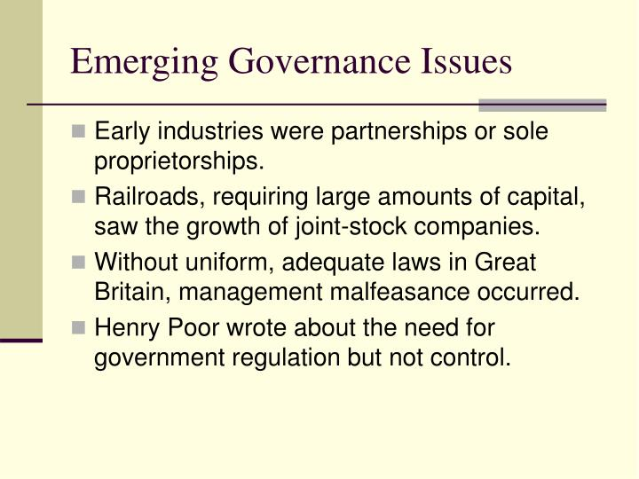 Emerging Governance Issues
