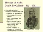 the age of rails daniel mccallum 1815 1878
