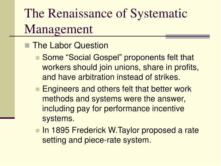The Renaissance of Systematic Management