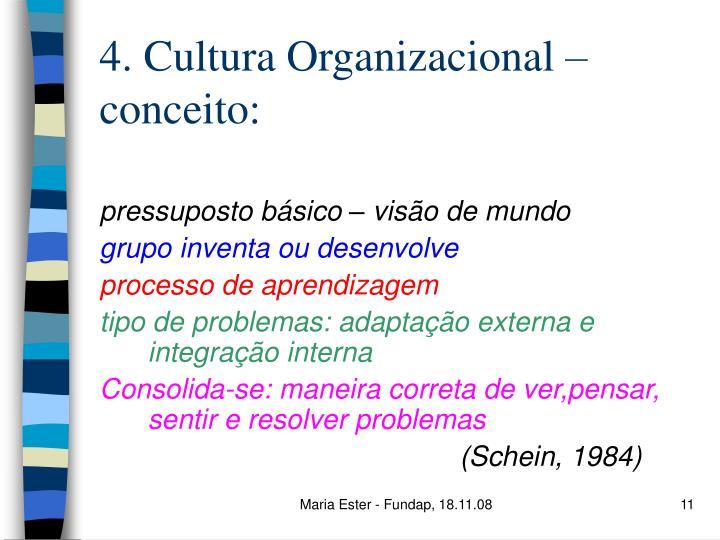 4. Cultura Organizacional – conceito: