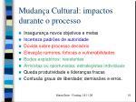 mudan a cultural impactos durante o processo