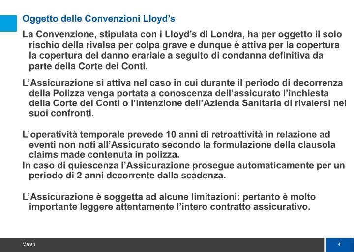 Oggetto delle Convenzioni Lloyd's