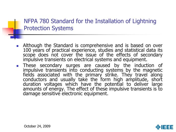 NFPA 780 Standard for the Installation of Lightning Protection Systems