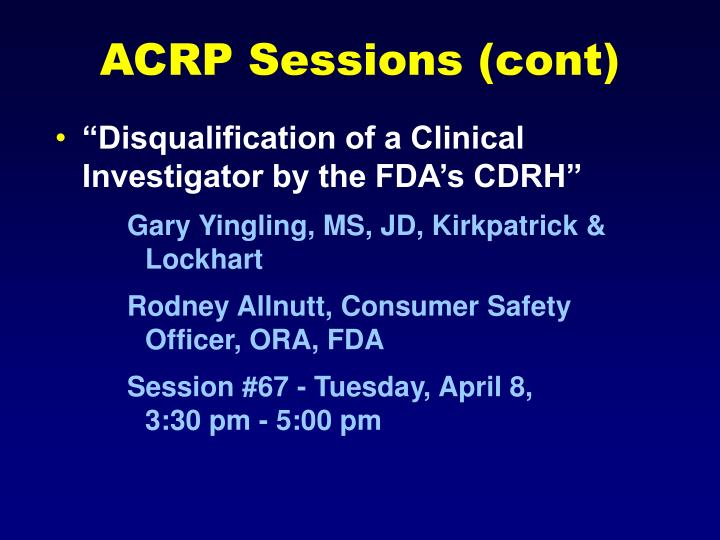 ACRP Sessions (cont)