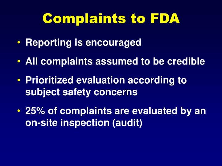 Complaints to FDA