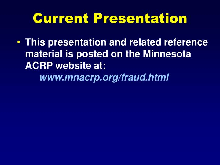 Current Presentation