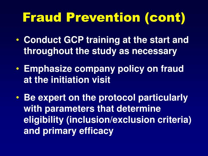 Fraud Prevention (cont)