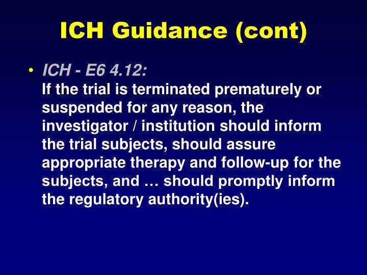 ICH Guidance (cont)