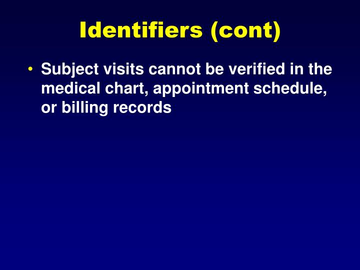 Identifiers (cont)