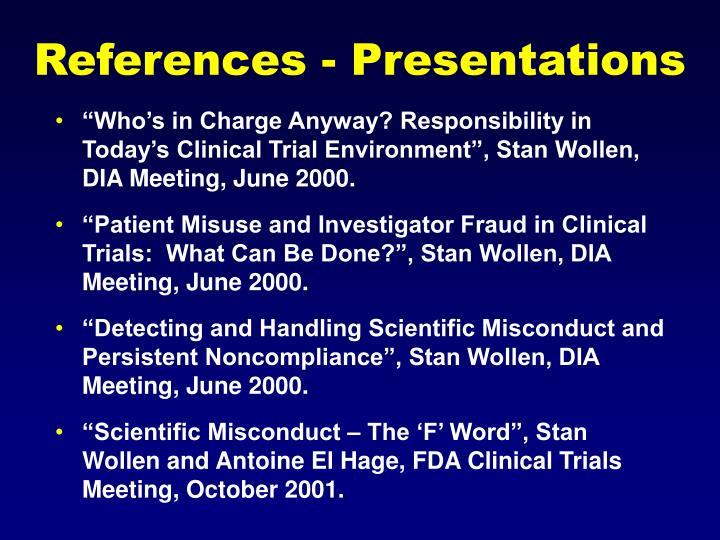 References - Presentations
