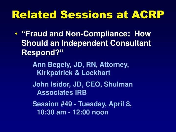 Related Sessions at ACRP