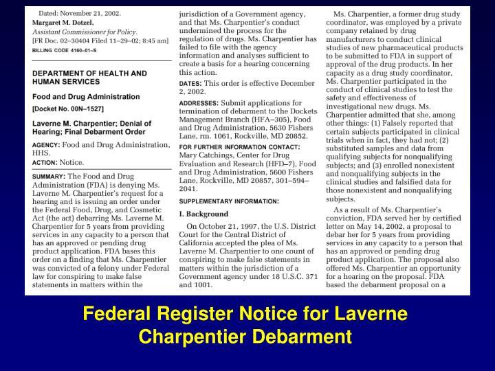 Federal Register Notice for Laverne Charpentier Debarment