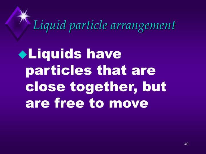 Liquid particle arrangement