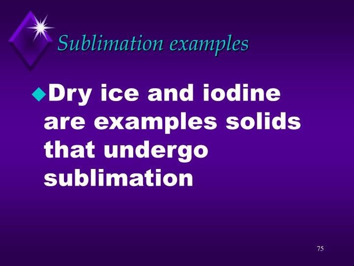 Sublimation examples