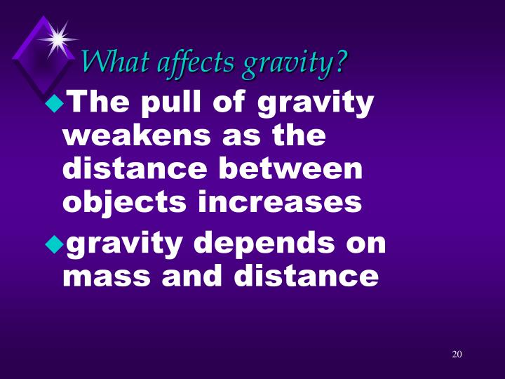 What affects gravity?