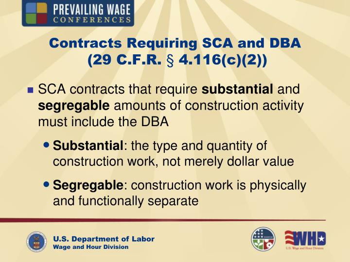 Contracts Requiring SCA and DBA