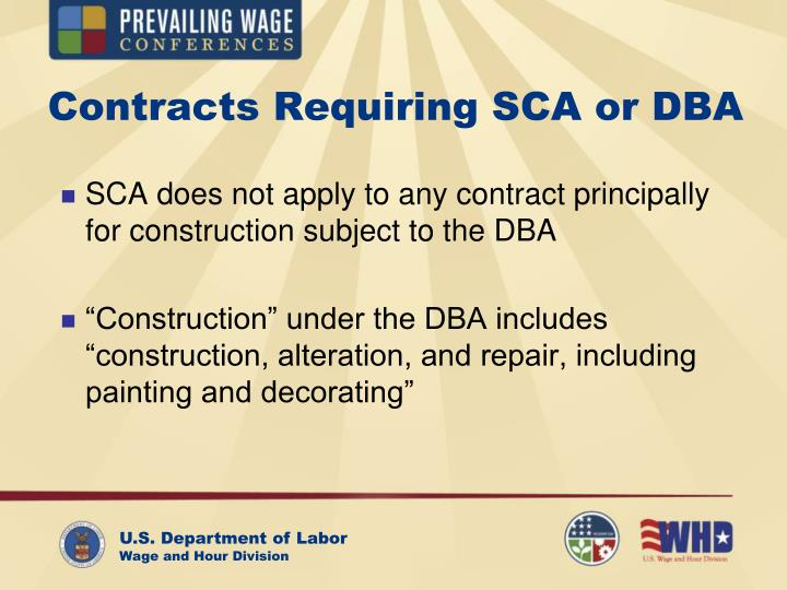 Contracts Requiring SCA or DBA