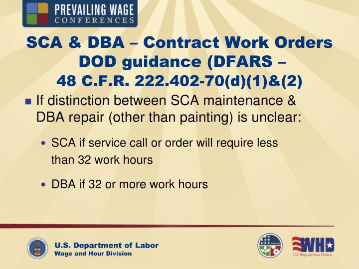 SCA & DBA – Contract Work Orders