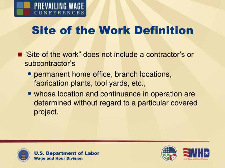 Site of the Work Definition