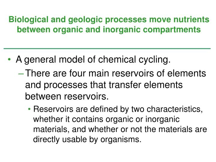 Biological and geologic processes move nutrients between organic and inorganic compartments