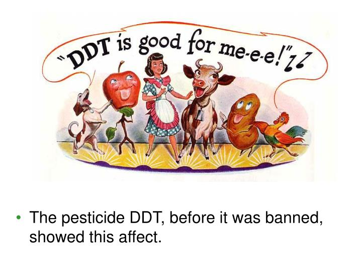 The pesticide DDT, before it was banned, showed this affect.