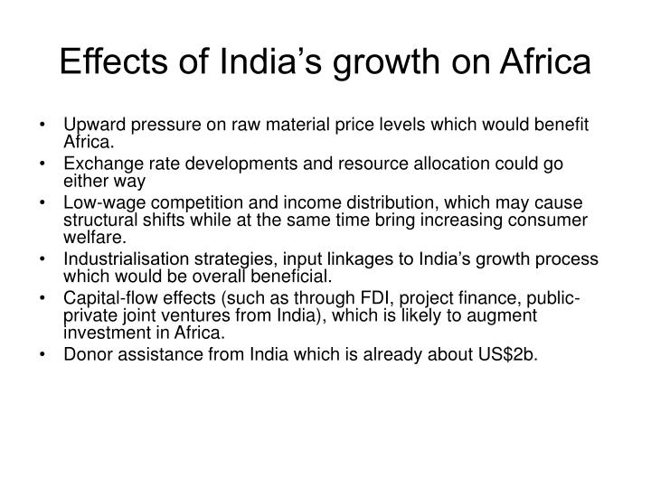 Effects of India's growth on Africa