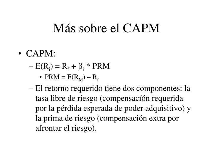 Más sobre el CAPM
