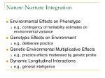 nature nurture integration