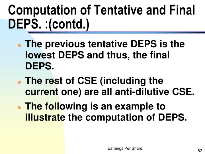 Computation of Tentative and Final DEPS. :(contd.)