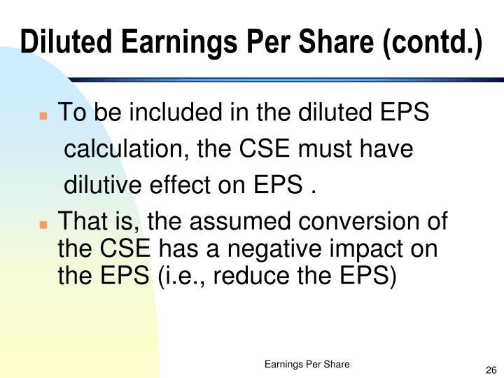 Diluted Earnings Per Share (contd.)