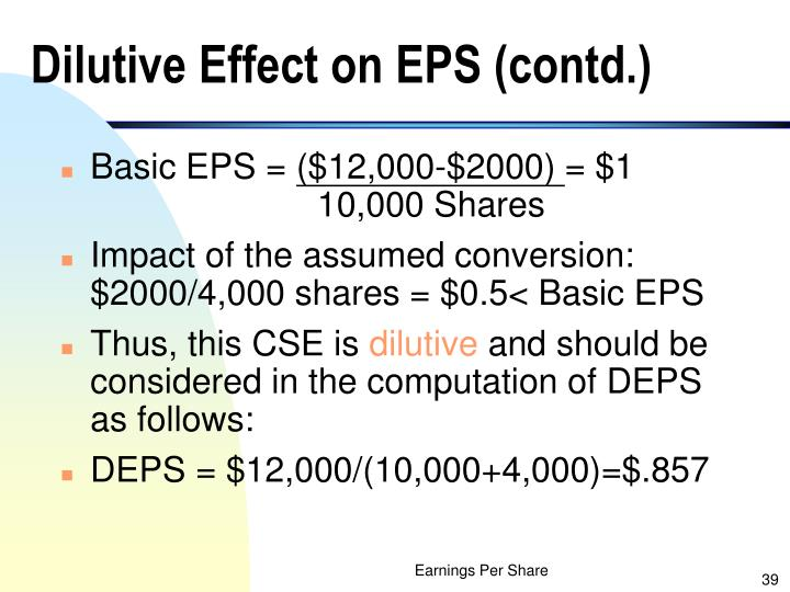 Dilutive Effect on EPS (contd.)