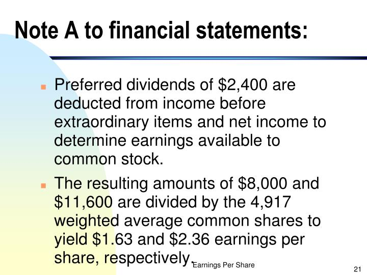 Note A to financial statements: