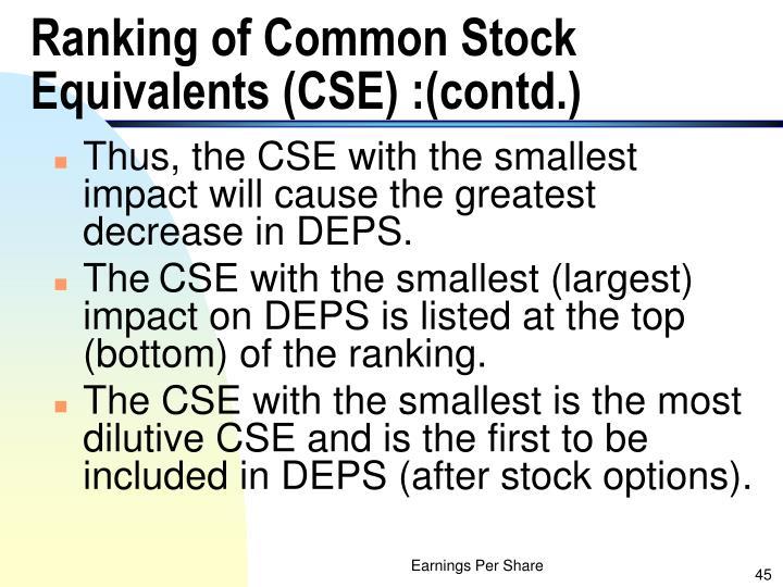 Ranking of Common Stock Equivalents (CSE) :(contd.)