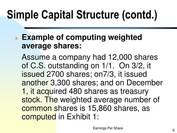Simple Capital Structure (contd.)