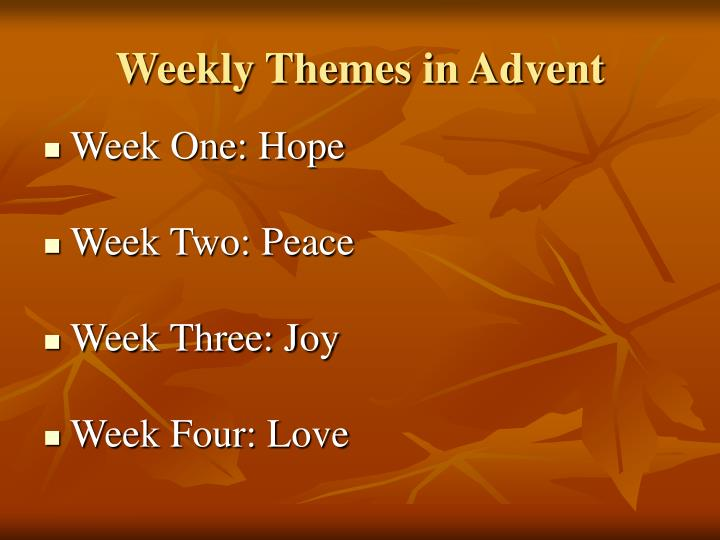 Weekly Themes in Advent