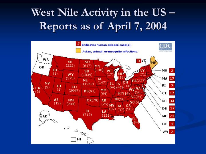 West Nile Activity in the US – Reports as of April 7, 2004