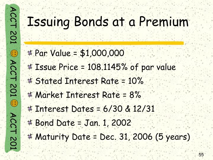 Issuing Bonds at a Premium
