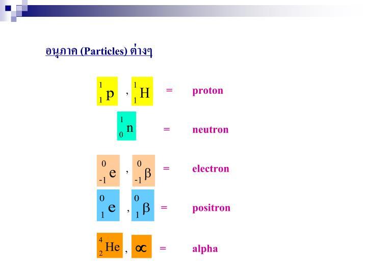 อนุภาค (Particles) ต่างๆ