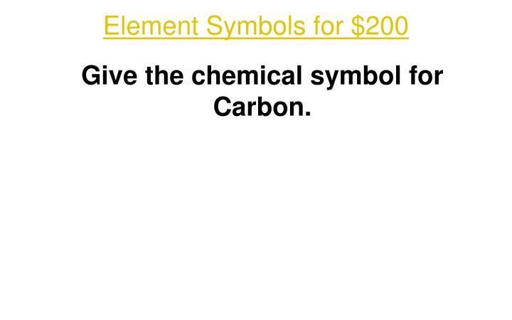 Element Symbols for $200