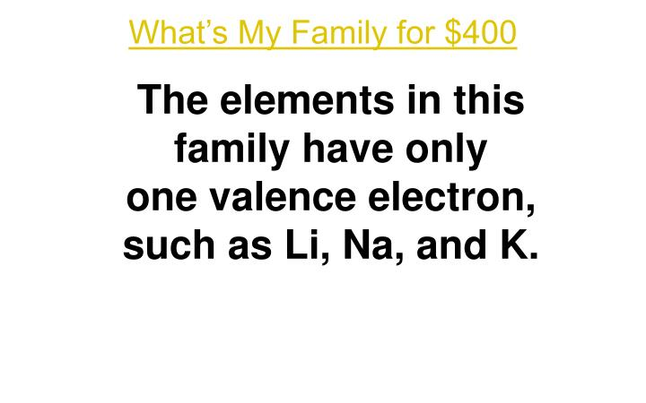 What's My Family for $400