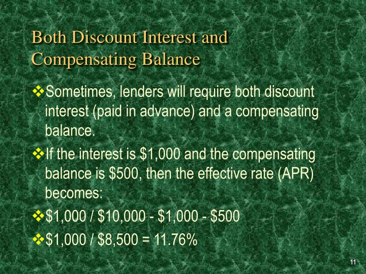 Both Discount Interest and Compensating Balance
